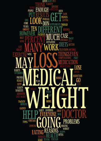 MEDICAL WEIGHT LOSS Text Background Word Cloud Concept Çizim