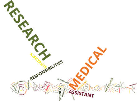MEDICAL RESEARCH ASSISTANT Text Background Word Cloud Concept Illustration