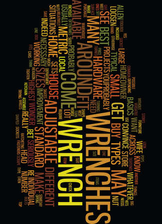 MEET YOUR TOOLBOX WRENCHES Text Background Word Cloud Concept Illustration