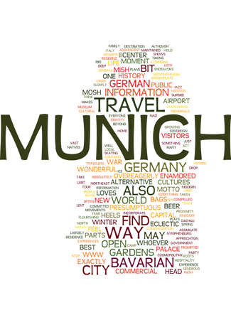 MNCHEN LIEBT DICH AND YOU WILL LOVE IT TOO TRAVEL TO MUNICH Text Background word cloud concept