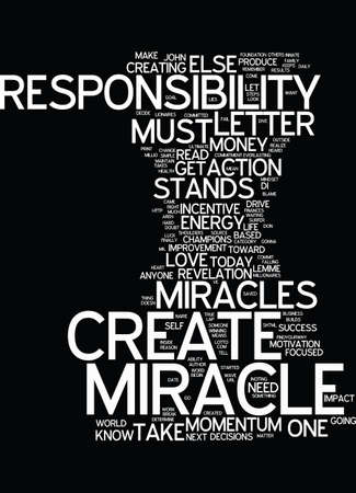 MIRACLES ARE YOUR RESPONSIBILITY Text Background word cloud concept Иллюстрация