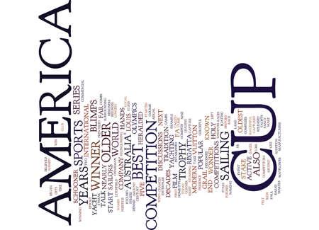 THE AMERICA S CUP Text Background Word Cloud Concept Ilustração