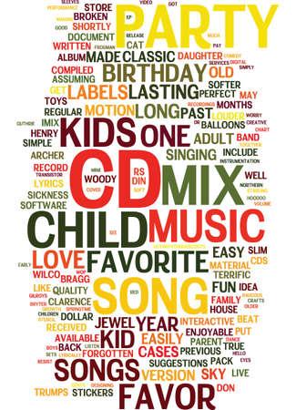 믹스 CD 독특한 아이 생일 파티 좋아하는 텍스트 배경 워드 클라우드 개념 일러스트