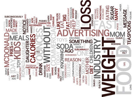 ounce: THE ADS MADE ME EAT Text Background Word Cloud Concept Illustration