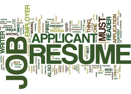THE AIMS OF JOB RESUME Text Background Word Cloud Concept