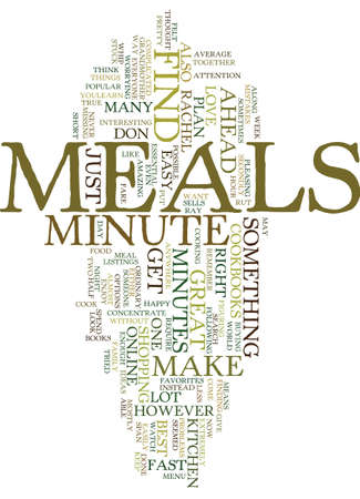 MINUTE MEALS Text Background Word Cloud Concept