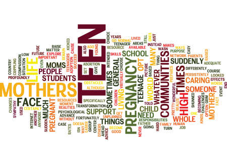 TEEN MOTHERS Text Background Word Cloud Concept Иллюстрация