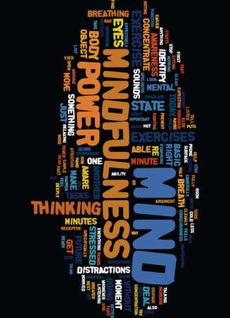 MIND POWER THROUGH MINDFULNESS Text Background Word Cloud Concept Иллюстрация