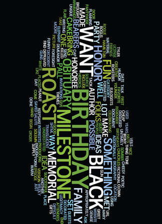 MILESTONE BIRTHDAY IDEAS A ROAST Text Background Word Cloud Concept