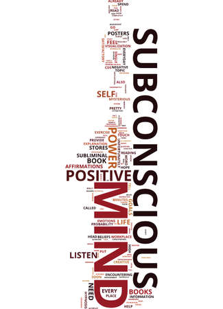MIND POWER TAP THE MAGNIFICENT POWER OF YOUR SUBCONSCIOUS MIND Text Background Word Cloud Concept Illustration