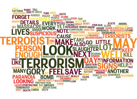 TERRORIST TERRORISM AND TERRORIZED Text Background Word Cloud Concept 向量圖像