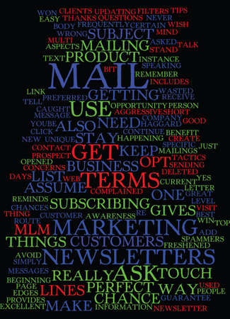 MLM E MAIL NEWSLETTERS AND HOW TO STAY IN TOUCH Text Background Word Cloud Concept