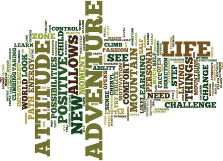 mentally: THE ADVENTURE ATTITUDE Text Background Word Cloud Concept