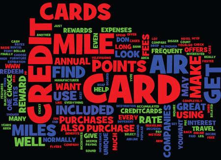 공기 마일 신용 카드 텍스트 배경 단어 구름 개념 일러스트