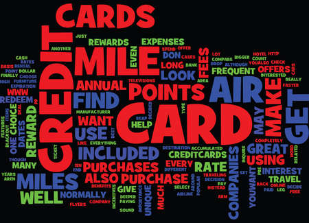 THE AIR MILE CREDIT CARD Text Background Word Cloud Concept Фото со стока - 82719987