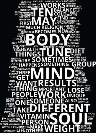 MIND BODY AND SOUL Text Background Word Cloud Concept
