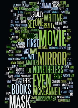 dvd: MIRROR MASK Text Background Word Cloud Concept Illustration