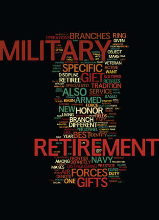 MILITARY RETIREMENT GIFTS TEN HUT Text Background Word Cloud Concept