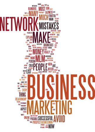 MLM BLUNDERS Text Background Word Cloud Concept Illustration