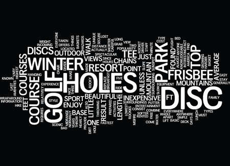 TEE OFF WITH DISC GOLF AT THE TOP OF THE ROCKIES Text Background Word Cloud Concept