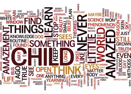 hypotheses: THE AMAZEMENT OF A CHILD Text Background Word Cloud Concept