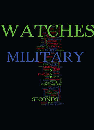 navigating: MILITARY WATCHES Text Background Word Cloud Concept Illustration