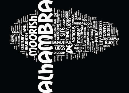 alhambra: THE ALHAMBRA GRENADA Text Background Word Cloud Concept Illustration
