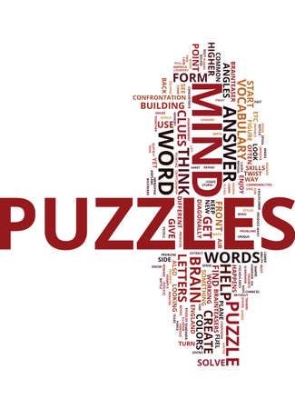 MIND PUZZLES BRAIN TEASERS Text Background Word Cloud Concept