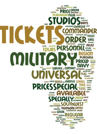 specially: MILITARY DISCOUNTS FOR UNIVERSAL STUDIO TOURS Text Background Word Cloud Concept