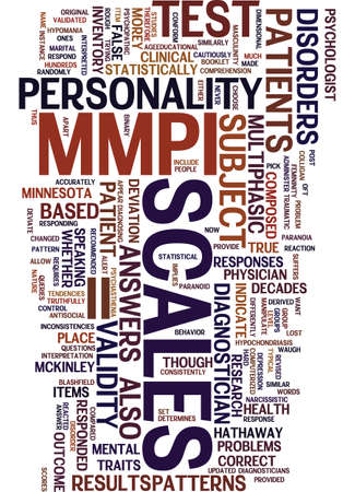 MMPI II TEST Text Background Word Cloud Concept 向量圖像