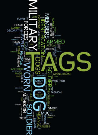 MILITARY DOG TAGS Text Background Word Cloud Concept Illustration