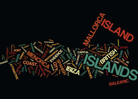THE BALEARIC ISLANDS Text Background Word Cloud Concept