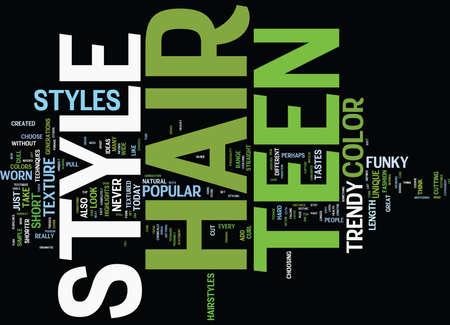 TEEN HAIR STYLE IDEAS Text Background Word Cloud Concept