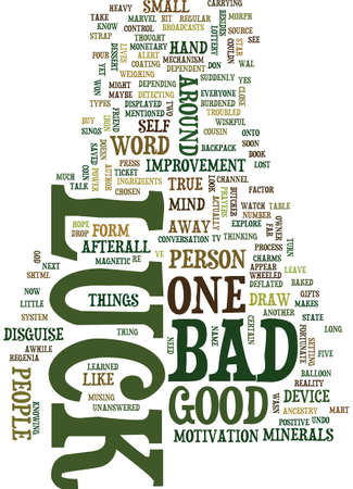 MIND CHATTER ABOUT LUCK Text Background Word Cloud Concept