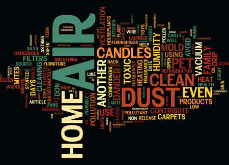 helps: THE AIR OF HOME Text Background Word Cloud Concept Illustration