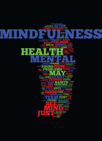 MINDFULNESS AND MENTAL HEALTH IMPROVEMENT Text Background Word Cloud Concept
