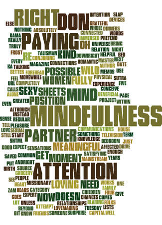 MINDFULNESS AND SEX RIGHT THERE RIGHT NOW Text Background Word Cloud Concept