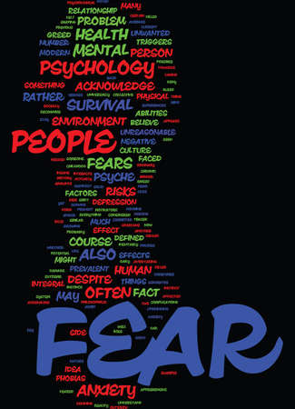 MIND KILLER THE PSYCHOLOGY OF FEAR Text Background Word Cloud Concept