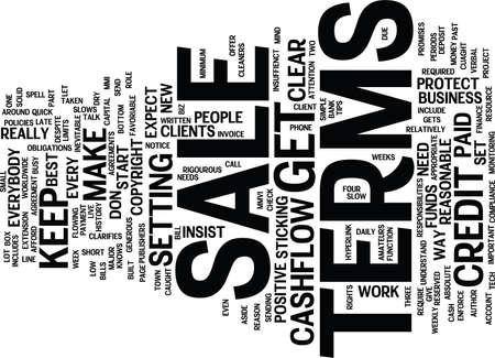 TERMS OF SALE MIND YOUR OWN CASHFLOW Text Background Word Cloud Concept Illustration