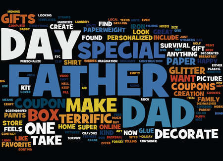 TERRIFIC GIFTS TO MAKE FOR FATHER S DAY Text Background Word Cloud Concept