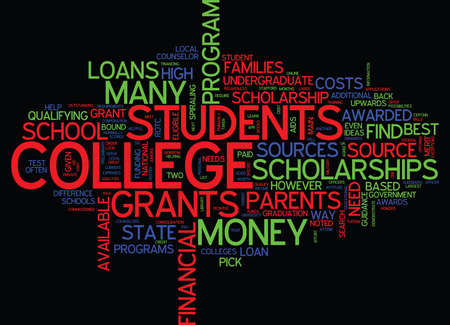 THE BEST WAY TO FIND COLLEGE LOANS Text Background Word Cloud Concept
