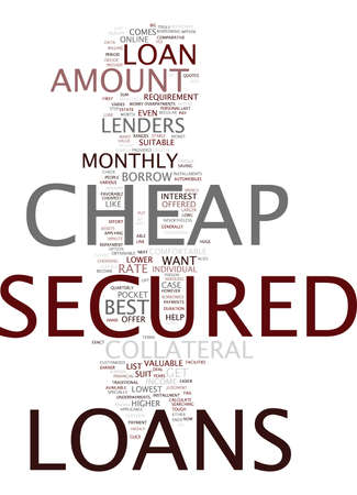 THE BEST COMES WITH THE LOWEST WITH CHEAP SECURED LOANS Text Background Word Cloud Concept