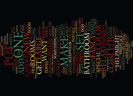 THE BATHROOM ACCESSORIES THAT MAKE YOU RELAX Text Background Word Cloud Concept
