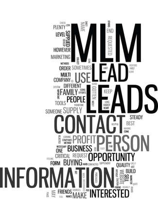 THE BEST USE OF AN MLM LEAD Text Background Word Cloud Concept