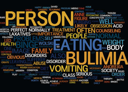 THE BATTLE OF BULIMIA Text Background Word Cloud Concept Illustration