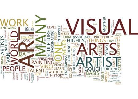 DE BASIS VAN VISUELE KUNST Tekst Achtergrond Word Cloud Concept Stock Illustratie