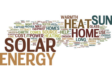 THE COST OF SOLAR ENERGY Text Background Word Cloud Concept