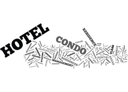 THE CONDO HOTEL CRAZE Text Background Word Cloud Concept