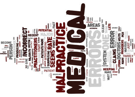 MEDICAL MALPRACTICE WHAT ARE THE SIX GREATEST RISKS Text Background Word Cloud Concept