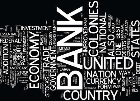 THE BANK OF THE UNITED STATES Text Background Word Cloud Concept Illustration
